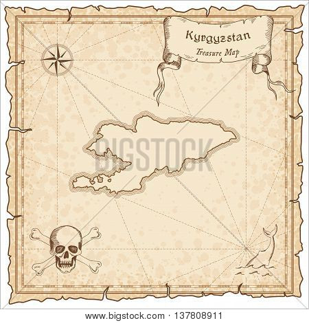 Kyrgyzstan Old Pirate Map. Sepia Engraved Template Of Treasure Map. Stylized Pirate Map On Vintage P