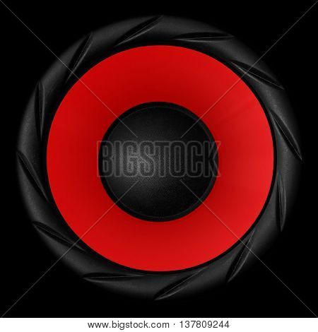 Red Audio Speaker Isolated On Black Background