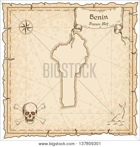 Benin Old Pirate Map. Sepia Engraved Template Of Treasure Map. Stylized Pirate Map On Vintage Paper.