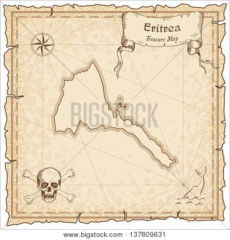 Eritrea Old Pirate Map. Sepia Engraved Template Of Treasure Map. Stylized Pirate Map On Vintage Pape