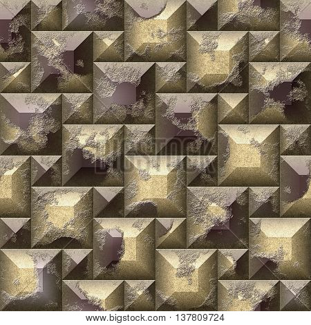 Seamless relief 3d mosaic pattern of scratched gold and brown beveled squares and pyramidal blocks. Stone relief wall with pyramidal blocks in colors of coffee