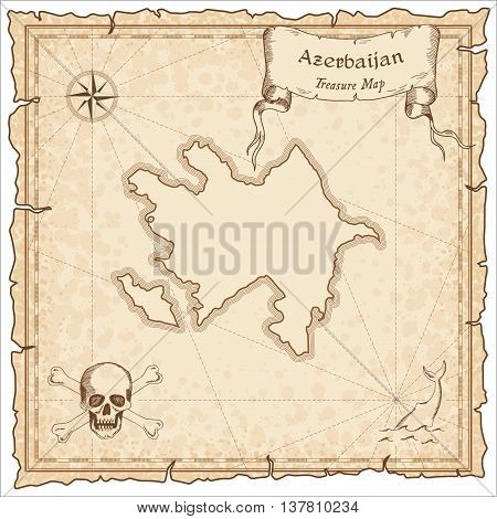 Azerbaijan Old Pirate Map. Sepia Engraved Template Of Treasure Map. Stylized Pirate Map On Vintage P