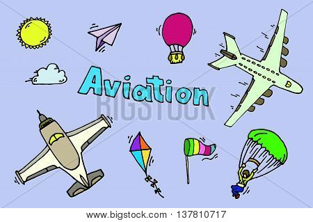 Aviation colored icons set. Vector illustration, EPS 10