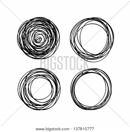 Vector hand-drawn scribble circles abstract doodle set for your design