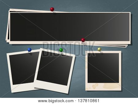 Photo polaroid frame set on attached with pin on schoolboard background. Isolated on white Collection of retro photography shots. Vector illustration.