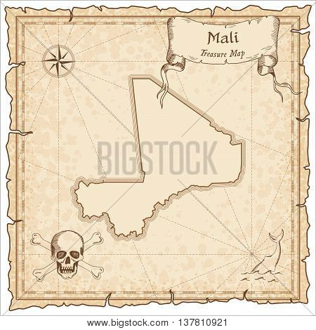 Mali Old Pirate Map. Sepia Engraved Template Of Treasure Map. Stylized Pirate Map On Vintage Paper.