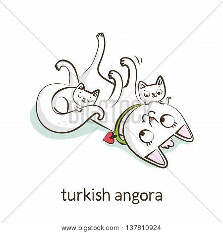 Turkish Angora. Cat Character With Kittens Isolated On White