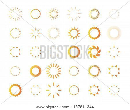 Set of vector sun. Illustration eps 10. Different icons for sun logo. Collection of sun icons isolated on white background.