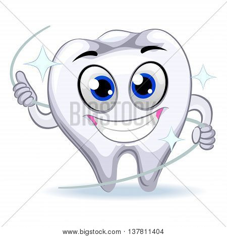 Vector Illustration of Tooth Mascot holding Dental Floss