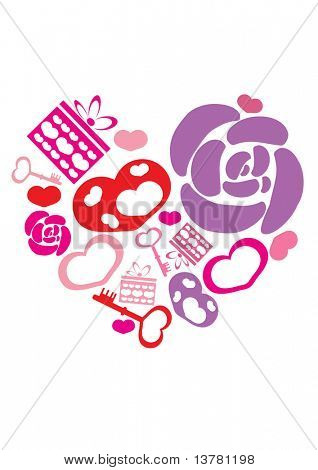 Vector illustration of hearts, flowers, gifts, keys in form big heart