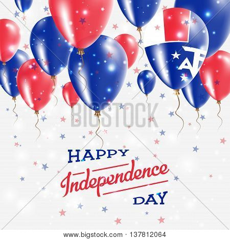French Southern Territories Vector Patriotic Poster. Independence Day Placard With Bright Colorful B