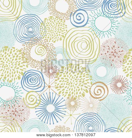 Seamless pattern with doodle circles. Abstract doodle pattern.