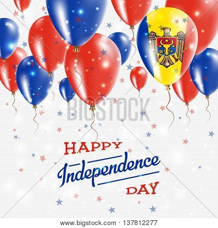 Moldova, Republic Of Vector Patriotic Poster. Independence Day Placard With Bright Colorful Balloons