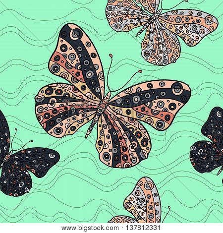 Seamless pattern with butterflies on a mint background. Hand drawn vector zentangle butterfly illustration. Decorative abstract doodle design element.