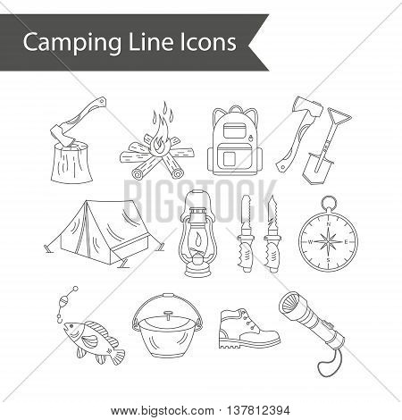 Camping holiday vector line icons. Thin liner vector icons - wood, fire, kerosene lamp, lantern, tent, knife, backpack fishing compass shoes