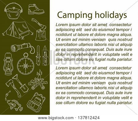 Camping holiday vector card with line icons. Wood, fire, kerosene lamp, lantern, tent, knife, backpack, fishing, compass, shoes.