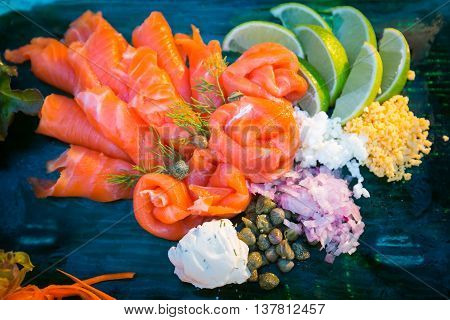 Close Up Smoked Salmon Set For Wedding Party.