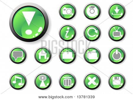 Vector illustration of green icons for web applications