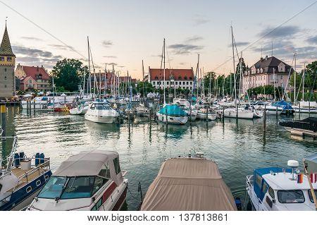 Harbor In Lindau, Lake Constance, Germany