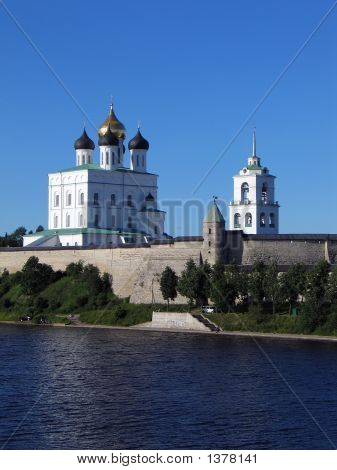 Trinity Cathedral And Bell-Tower In Pskov Kremlin.
