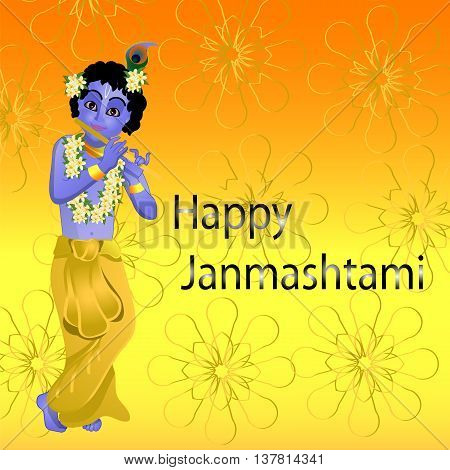 Krishna and flute, postcard, banner, gold mandala vector illustration