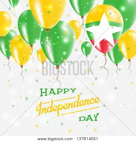 Myanmar Vector Patriotic Poster. Independence Day Placard With Bright Colorful Balloons Of Country N