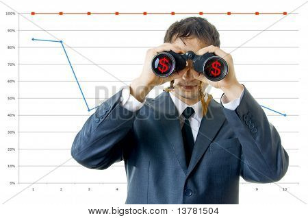 Business Man With Binoculars Looking To The Income.