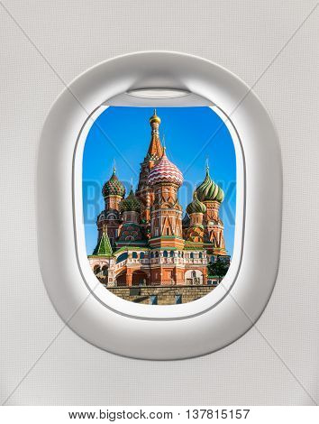 Looking Out The Window Of A Plane To The St. Basil's Cathedral