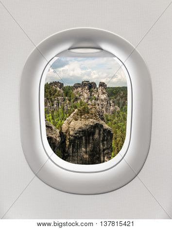Looking Out The Window Of A Plane To The Rocks, Germany