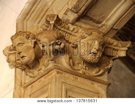 Stone carving in spanish hermitage in Almagro ciudad real