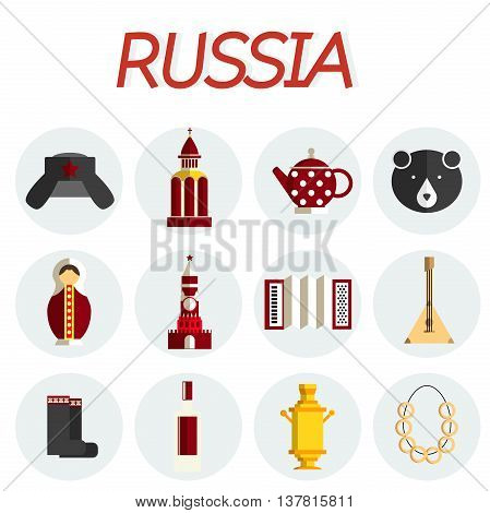 Travel to Russia. Set of icons of Russian architecture, food, costumes, traditional symbols, music, musical instruments, dolls, tea. Russian people. Collection of flat illustration to guide