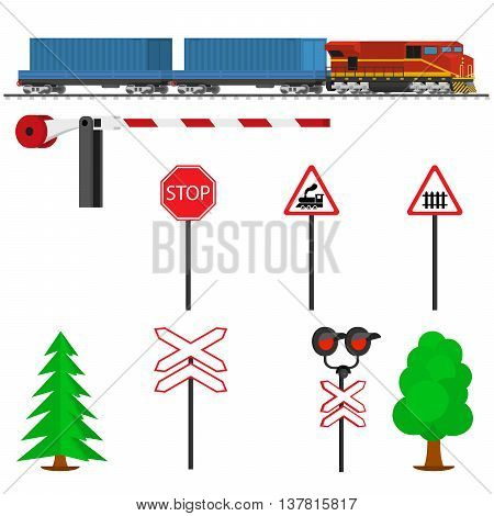 Railroad traffic way and train with containers. Railroad train transportation. Railway equipment with signs, barriers, alarms, traffic lights. Flat icons vector illustration.