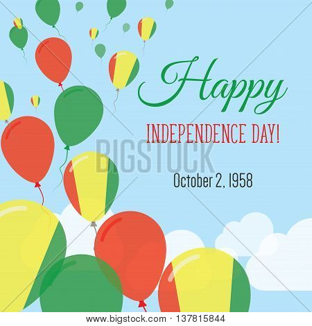 Independence Day Flat Greeting Card. Guinea Independence Day. Guinean Flag Balloons Patriotic Poster