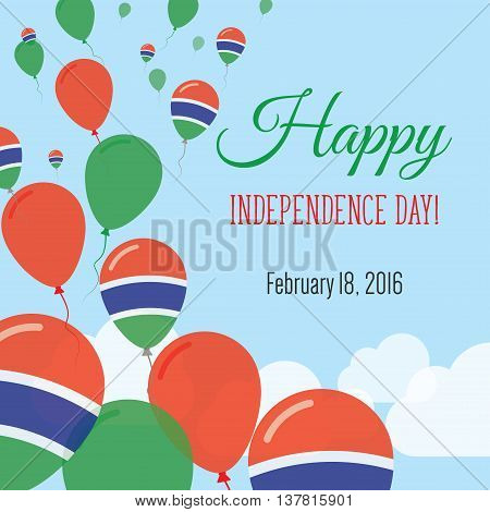 Independence Day Flat Greeting Card. Gambia Independence Day. Gambian Flag Balloons Patriotic Poster