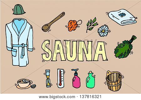 Set of sauna icons. Banya elements. Icons set. Vector illustration, EPS 10
