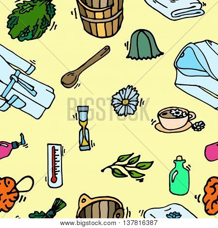 Pattern of sauna icons. Banya elements. Vector illustration, EPS 10