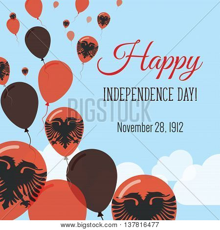 Independence Day Flat Greeting Card. Albania Independence Day. Albanian Flag Balloons Patriotic Post