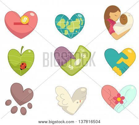Illustration of Community Service Icons Forming the Shape of a Heart