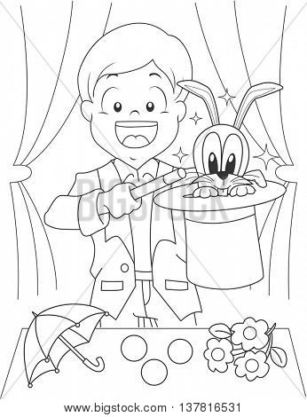 Black and White Coloring Page Illustration of a Boy Dressed as a Magician