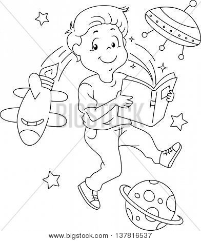Black and White Illustration of a Space Themed Coloring Page
