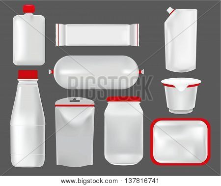 Vector set mock up. Food packaging for different snack products, design pack template for branding