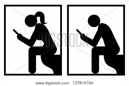 Women's And Man's Restroom Signs. Vector Illustration Of Restroom Signs With A Woman And A Man Holding Self Phones.