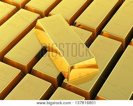 3D-rendering  Set Of Gold Bars