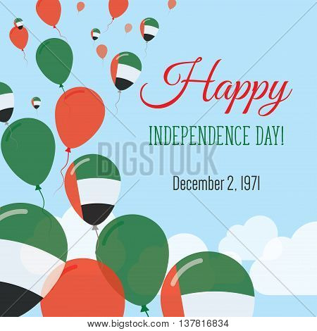 Independence Day Flat Greeting Card. United Arab Emirates Independence Day. Emirian Flag Balloons Pa