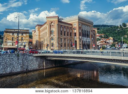 Sarajevo Bosnia and Herzegovina - August 23 2015. Sarajevo City Hall building commonly known as Vijecnica completed in 1896