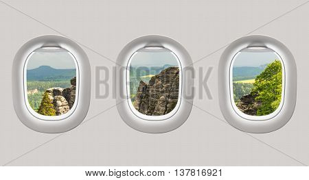Looking Out The Windows Of A Plane To The Bastei Bridge