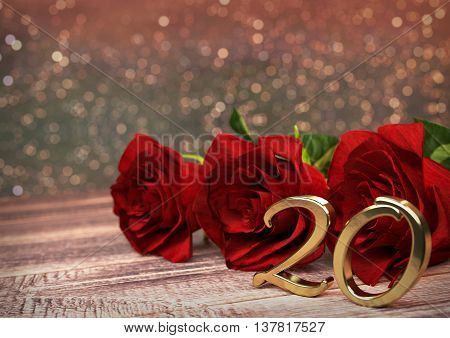 birthday concept with red roses on wooden desk. 3D render - twentieth birthday. 20th