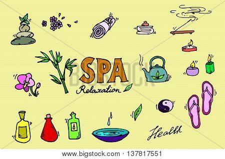 Spa colorful icons set. Relax. Vector illustration EPS 10