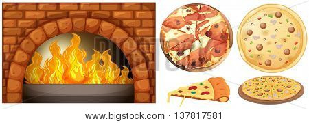 Set of pizza and stone oven illustration