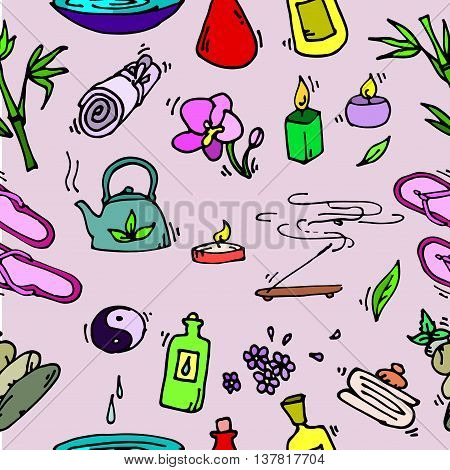 Spa seamless pattern. Relax icons. Vector illustration EPS 10